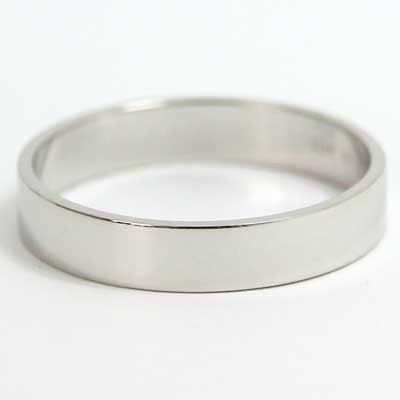 4mm Flat Wedding Band 10k White Gold
