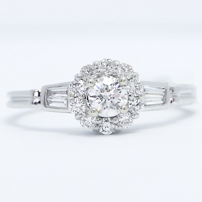 Floating Diamonds Halo Engagement Ring 14K White Gold ESR27198-1