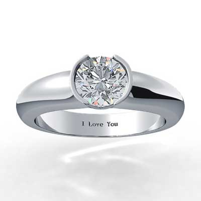 Half Bezel Solitaire Diamond Ring 14k White Gold