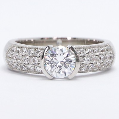 Half Bezel Tension Style Diamond Ring 14k White Gold