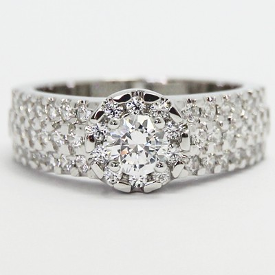 Halo Style Pave Setting Engagement Ring 14k White Gold