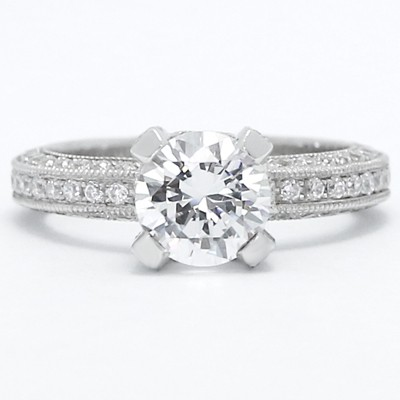 High Cathedral Pave Set Engagement Ring 14k White Gold