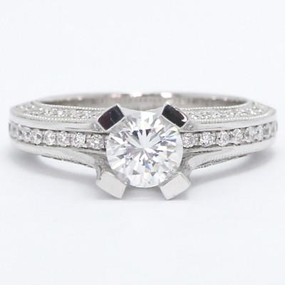 High Pave Set Designer Diamond Ring 14k White Gold