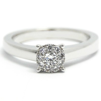 Illusion Set Solitaire Engagement Ring 14k  White Gold