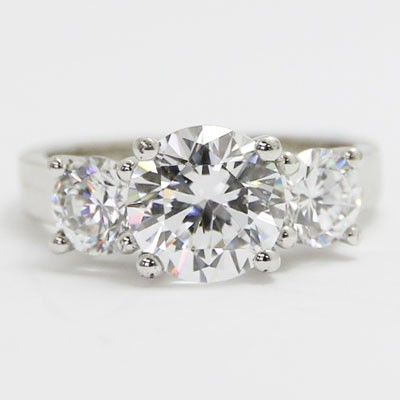 L93304-1 Three Stone Double Gallery Engagement Ring 14k White Gold