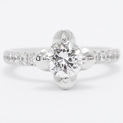Lotus Style Diamond Engagement Ring 14k White Gold