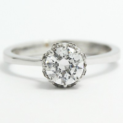 Lotus Style Solitaire Diamond Engagement Ring 14k White Gold