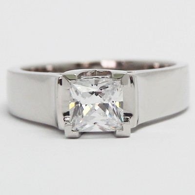 Lucida Style Solitaire Engagement Ring 14k White Gold