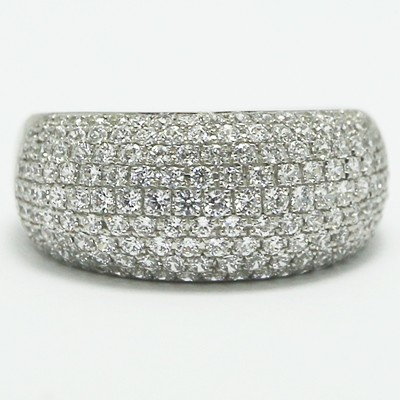 Micro Pave Cocktail Silver Ring