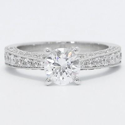 Micro Pave Engagement Ring 14k White Gold