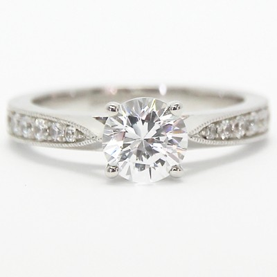 Pave Set Tapered Engagement Setting 14k White Gold