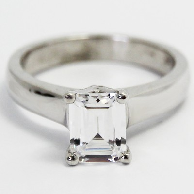 Radiant Cut Solitaire Ring 14k White Gold