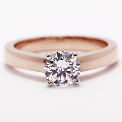 Raised Four Claw Engagement Ring 14k Rose Gold