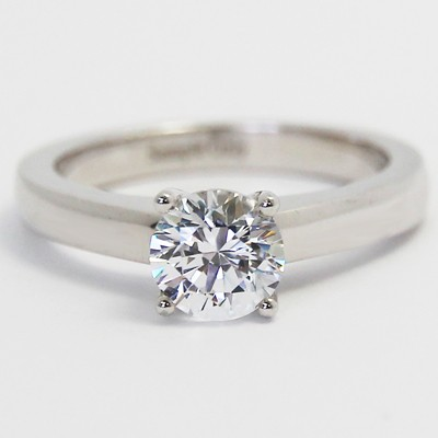 Raised Four Claw Engagement Ring 14k White Gold top