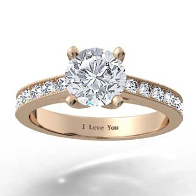Channel Set Engagement Ring 14k Rose Gold