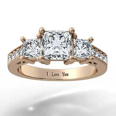 Heart Shaped Filigree Design Engagement Setting 14k Rose Gold