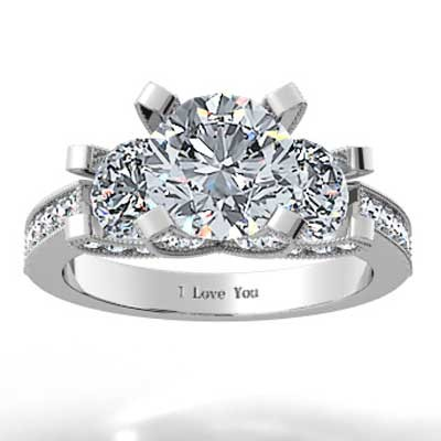 Round Brilliant Pave Set Engagement Ring 14k White Gold