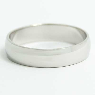 5mm Rounded Wedding Band 10k White Gold