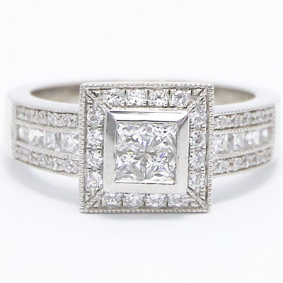 Rounds And Princess Cut Diamond Engagement Ring 14k White Gold