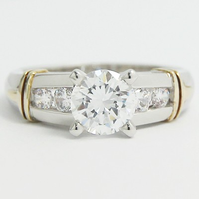 Side Channel Set Engagement Ring 14k White & Yellow