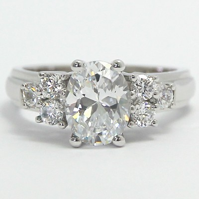 Side Cluster Engagement Ring 14k White Gold