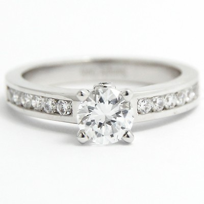 Solid Channel Set Engagement Ring 14k White Gold