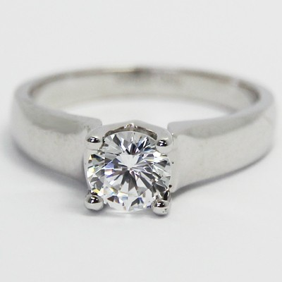 Solid Engagement Ring 14k White Gold