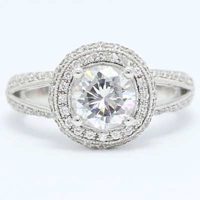 Split Band Halo Diamond Engagement Ring 14k White Gold