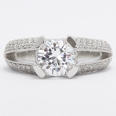 Split Band Milgrained Pave Design Diamond Ring 14k White Gold