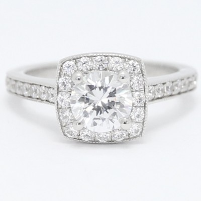 Squared Halo Top Engagement Setting 14k White Gold