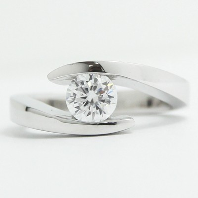 Swirl Bezel Style Engagement Ring 14k White Gold