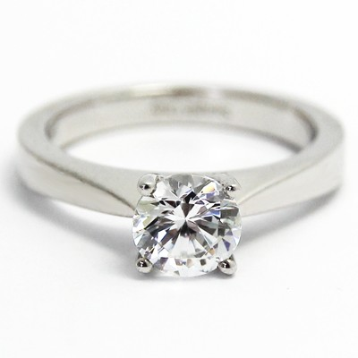 Tapered Solid Style Engagement Ring 14k White Gold