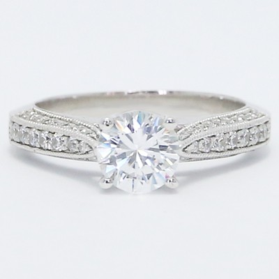 Tapered Three Side Pave Engagement Ring 14k White Gold