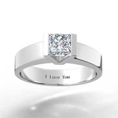 Tension Style Princess Solitaire 14k White Gold