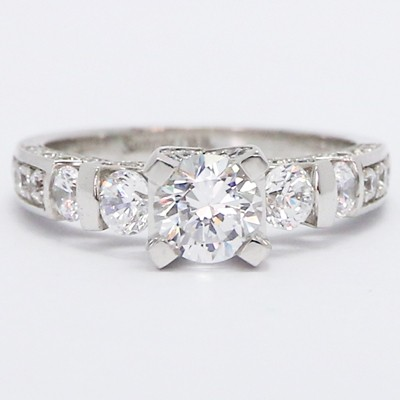 Three Sided Pave Vintage Diamond Ring 14k White Gold