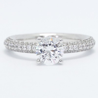 Triple Pave Comfort fit Engagement Ring 14k White Gold