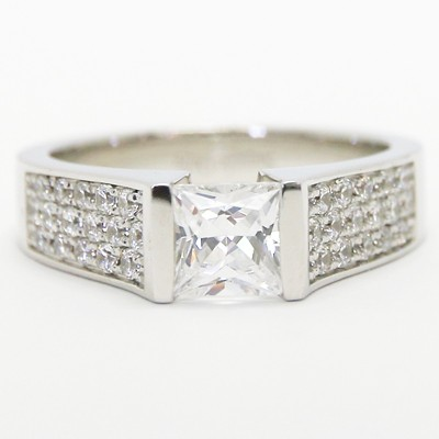 Triple Row Princess Cut Engagement Ring 14k White Gold