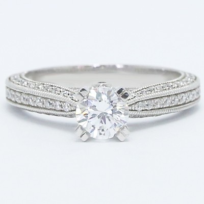 Triple Sided Pave Engagement Ring 14k White Gold