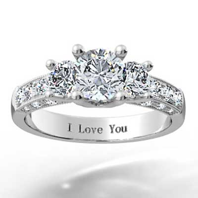 Triple Sided Pave Set Diamond Ring 14k White Gold