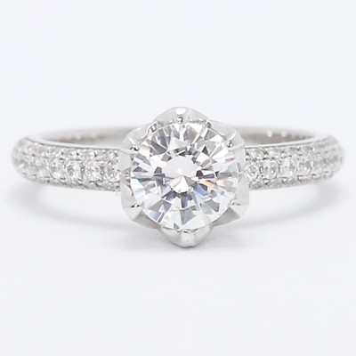 Tulip Design Pave Set Engagement Ring 14k White Gold