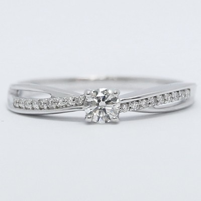Twisted Band Diamond Engagement Ring 18k White Gold