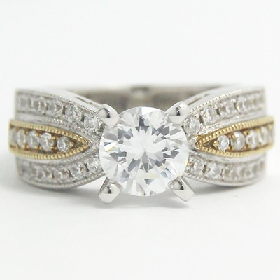 Two Tone Pave Set Diamond Ring 14k White & Yellow Gold