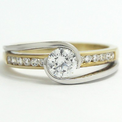 Two Tone Swirl Style Diamond Ring 14k White and Yellow Gold