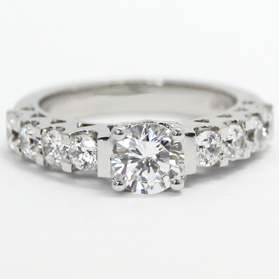 Vintage Style Engagement Ring 14k White Gold