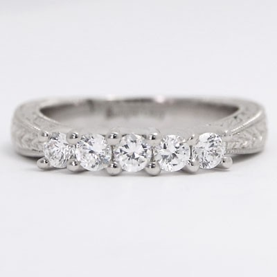 W93505-1 3.5-2.2 mm Hand Engraved Wedding Ring 14k White Gold