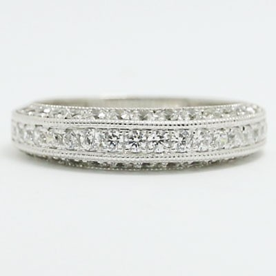 W93521 Three Sided Pave Diamond Wedding Ring 14k White Gold