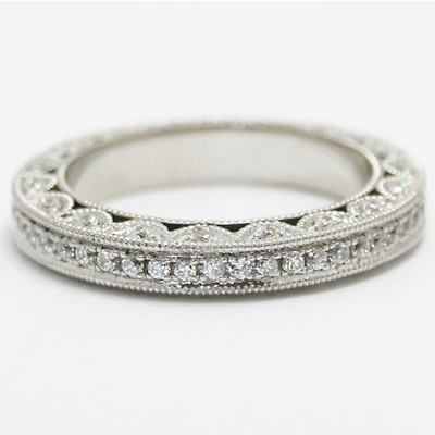 W93587 Venetian Diamond Eternity Wedding Band 14k White Gold