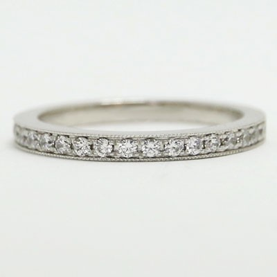 W93601 Half Eternity Milgrain Diamond Wedding Band 14k White Gold