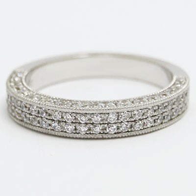 W93692 Venetian Two Rows Diamond Wedding Band 14k White Gold