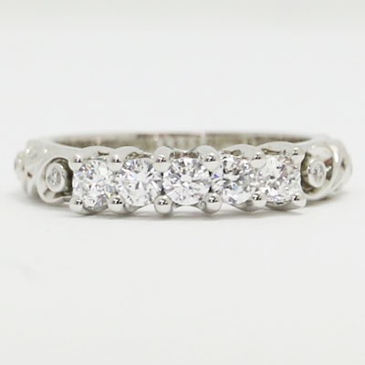 W93722 Vintage Five Stone Diamond Wedding Band 14k White Gold